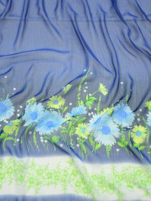 Шифон креш купон синий с цветочной каймой (10356) - Фото 20