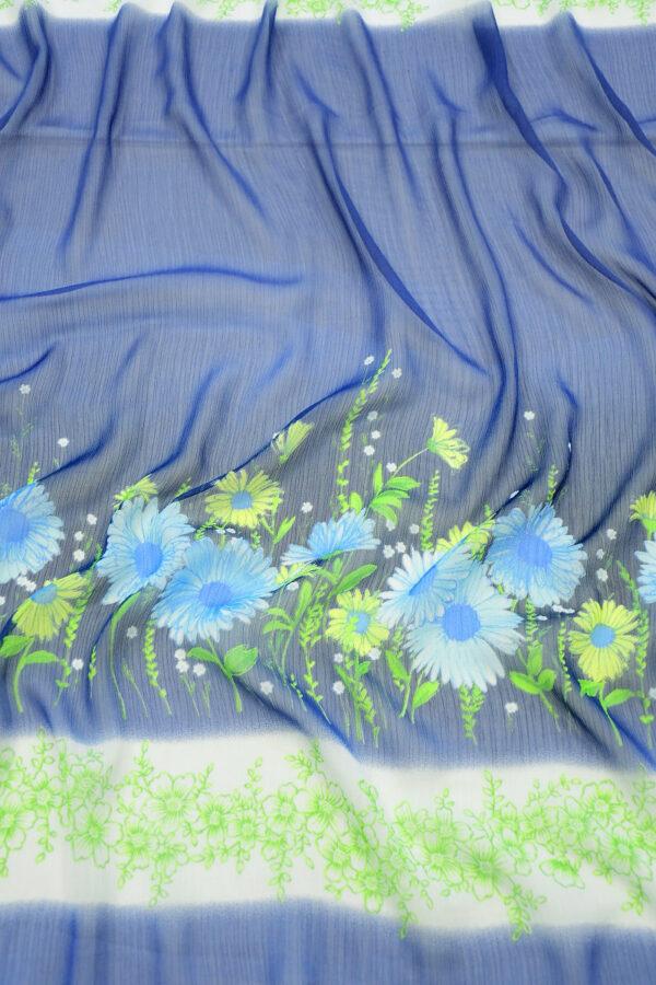 Шифон креш купон синий с цветочной каймой (10356) - Фото 6