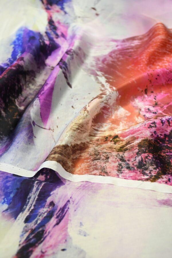 Шелк шармез с купоном разноцветные горы (10358) - Фото 10