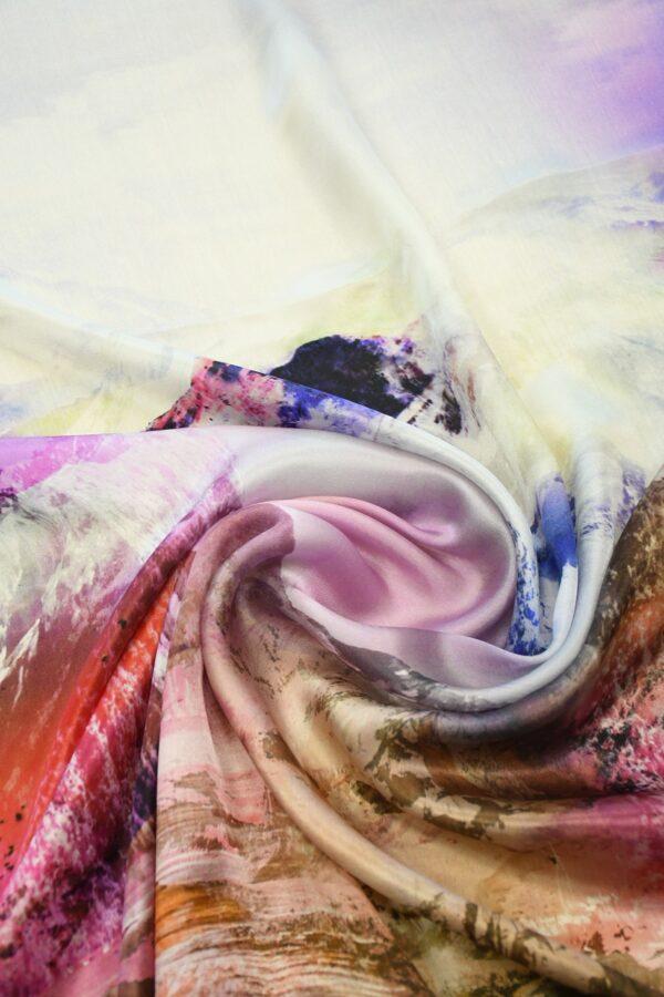 Шелк шармез с купоном разноцветные горы (10358) - Фото 8