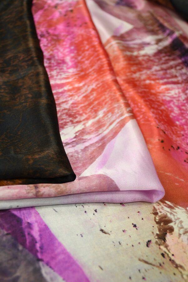 Шелк шармез с купоном разноцветные горы (10358) - Фото 9