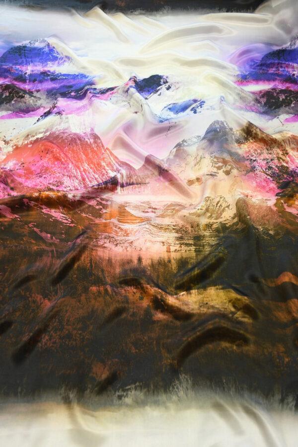 Шелк шармез с купоном разноцветные горы (10358) - Фото 6