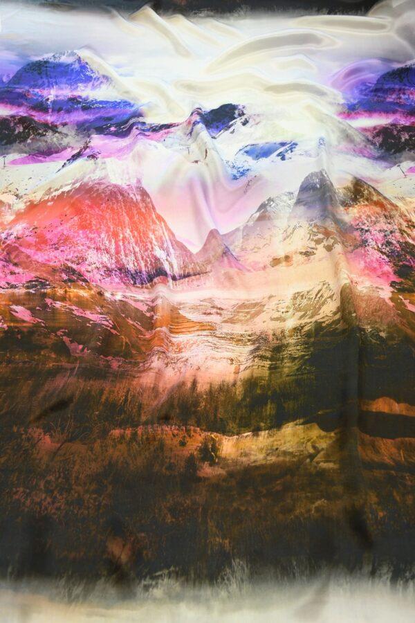 Шелк шармез с купоном разноцветные горы (10358) - Фото 12
