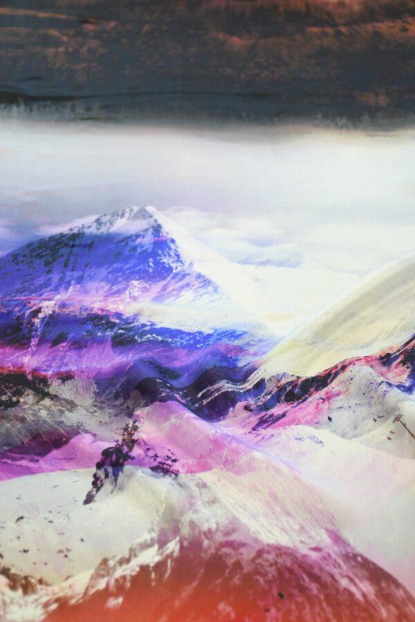 Шелк шармез с купоном разноцветные горы (10358) - Фото 11