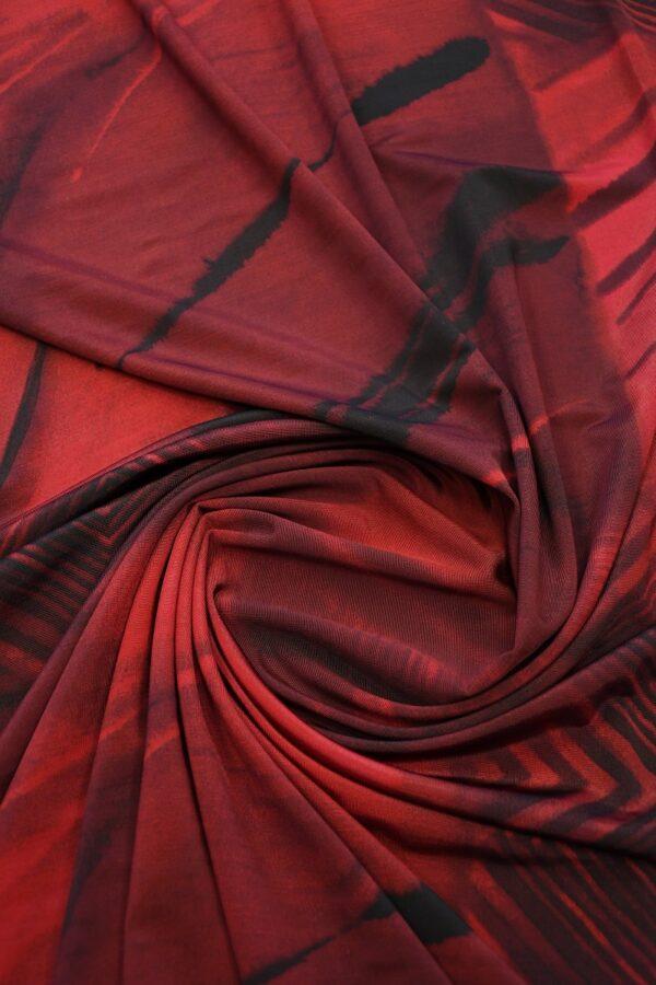 Трикотаж холодная вискоза бордо с геометрией (10359) - Фото 8
