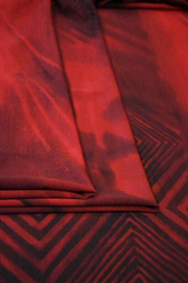 Трикотаж холодная вискоза бордо с геометрией (10359) - Фото 9