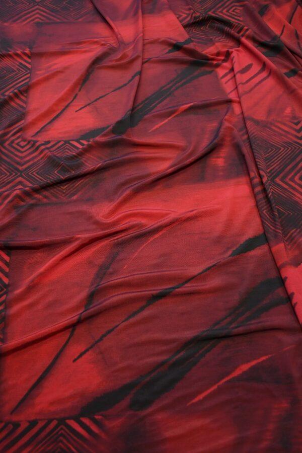 Трикотаж холодная вискоза бордо с геометрией (10359) - Фото 6