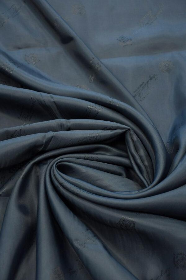 Подклад вискоза темно-синий с гербами и надписями 3