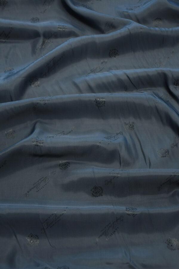 Подклад вискоза темно-синий с гербами и надписями