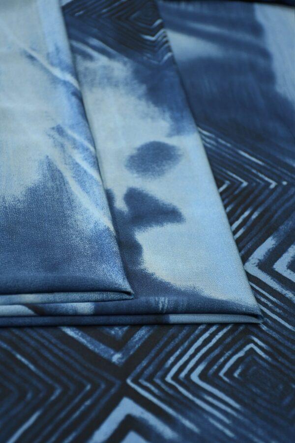 Трикотаж холодная вискоза синий с геометрией (10361) - Фото 8