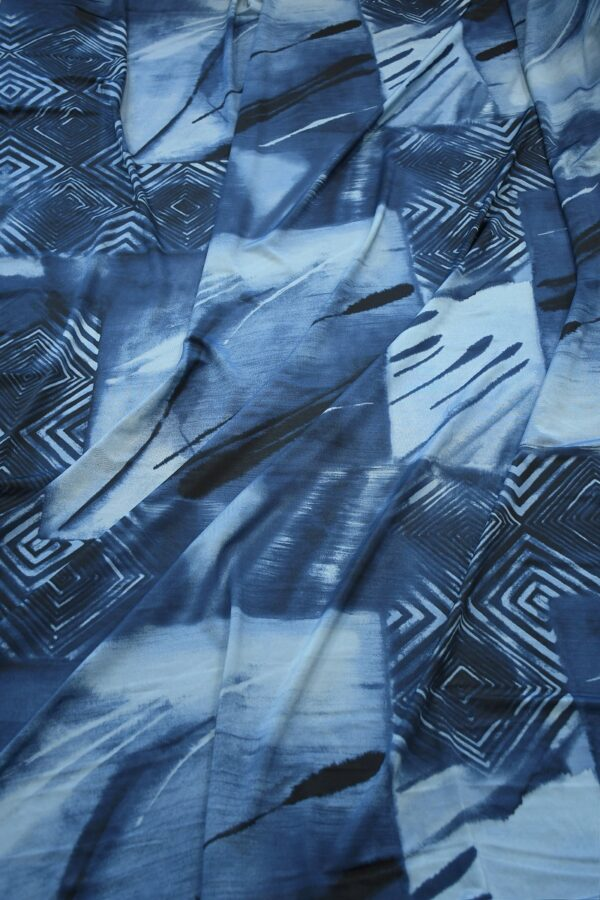 Трикотаж холодная вискоза синий с геометрией (10361) - Фото 6