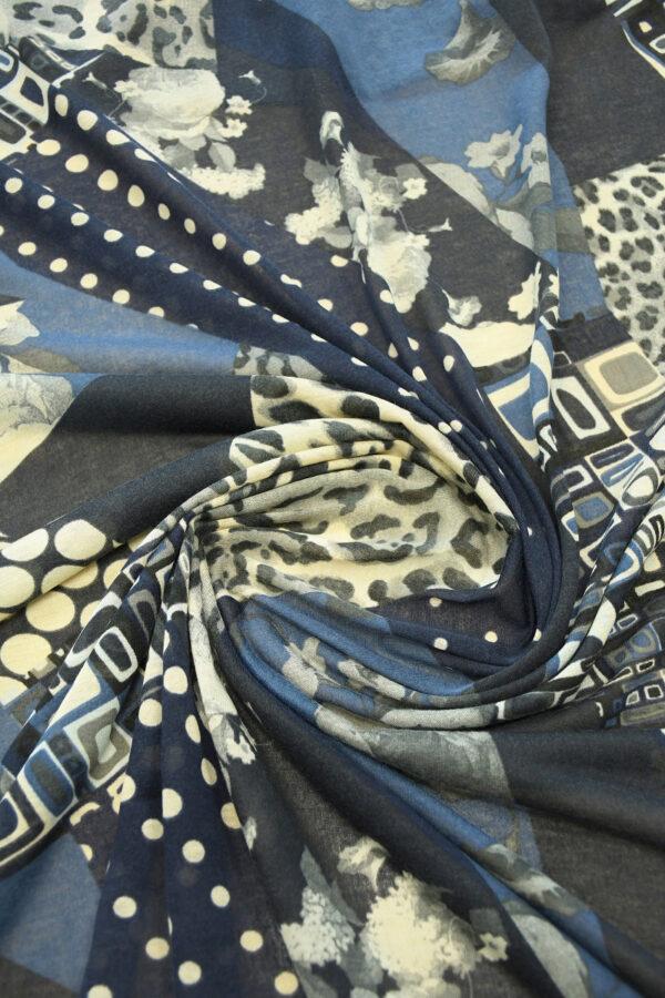 Трикотаж с цветами горохом и леопардом 2