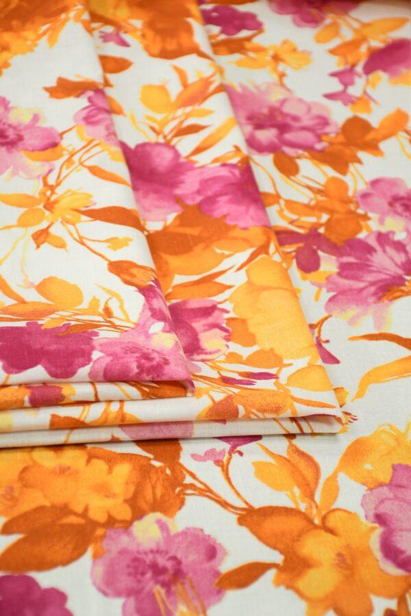 Лен белый с розовыми и оранжевыми цветами3