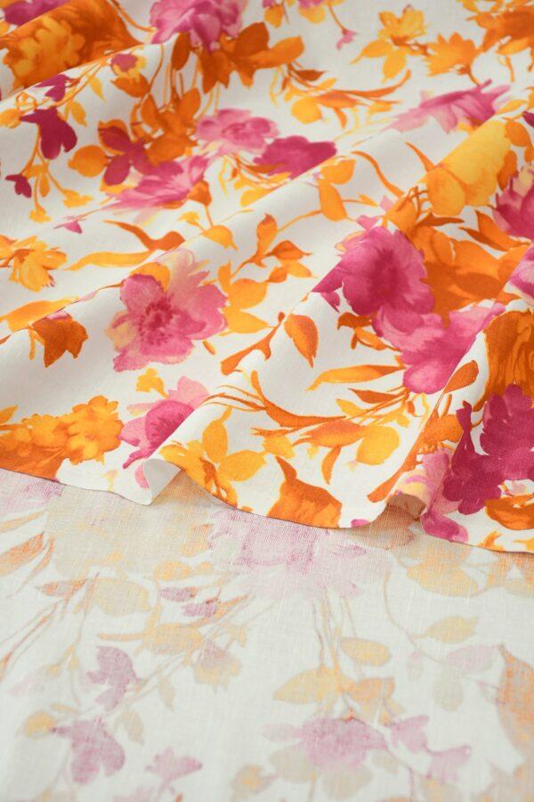 Лен белый с розовыми и оранжевыми цветами 1