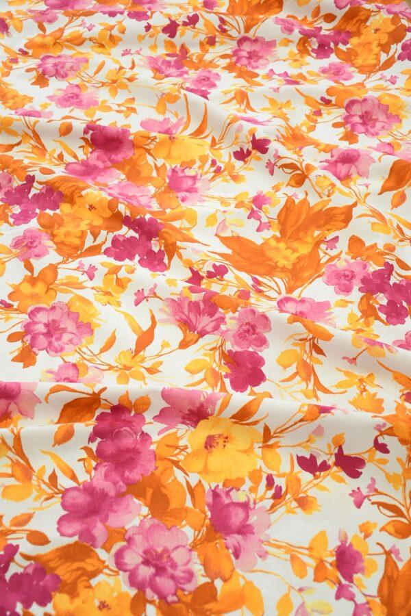 Лен белый с розовыми и оранжевыми цветами 6