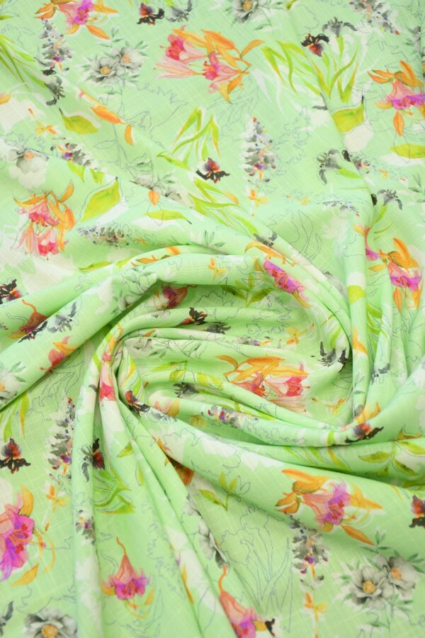 Штапель салатовый с цветами (10365) - Фото 8
