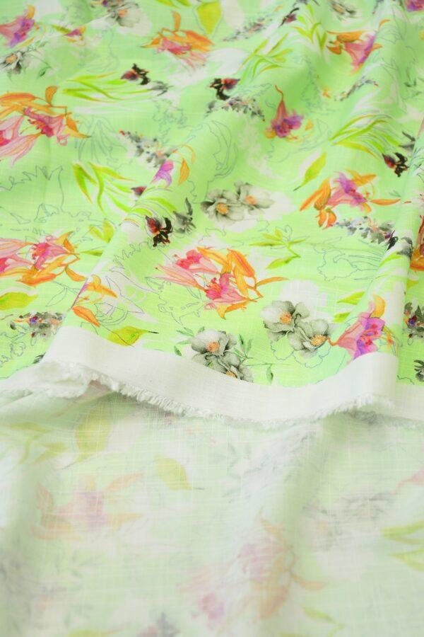 Штапель салатовый с цветами (10365) - Фото 10