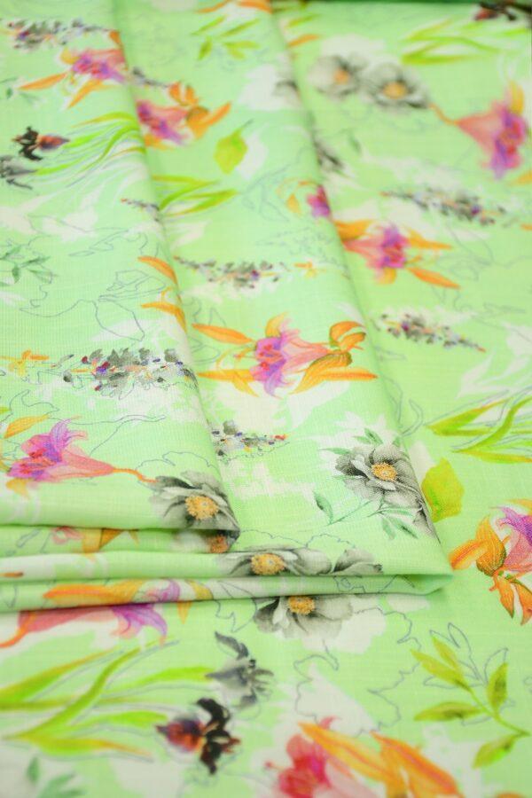 Штапель салатовый с цветами (10365) - Фото 9