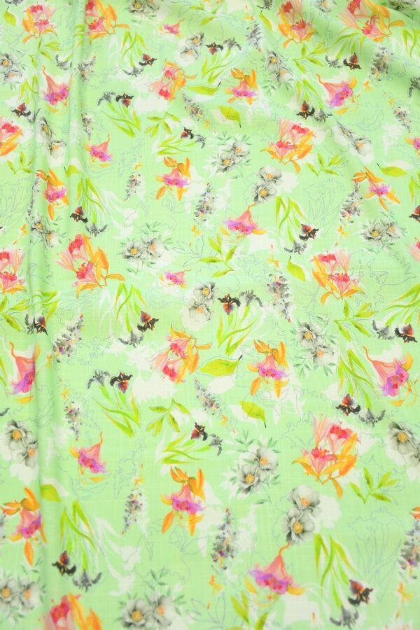 Штапель салатовый с цветами (10365) - Фото 11