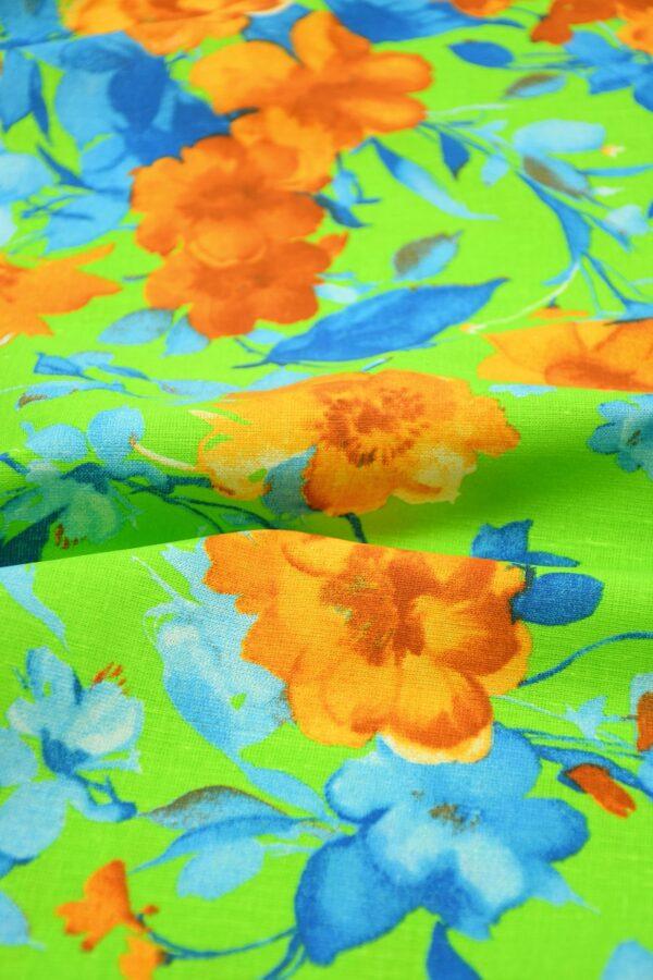 Лен салатовый с оранжевыми и голубыми цветами 5