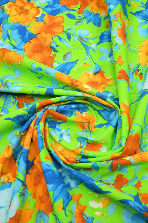 Лен салатовый с оранжевыми и голубыми цветами 2