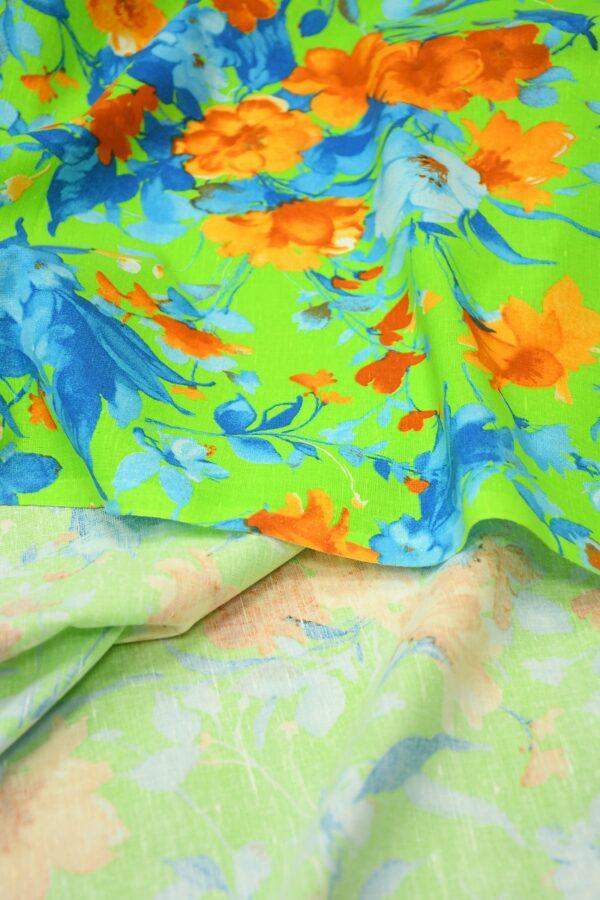 Лен салатовый с оранжевыми и голубыми цветами 3