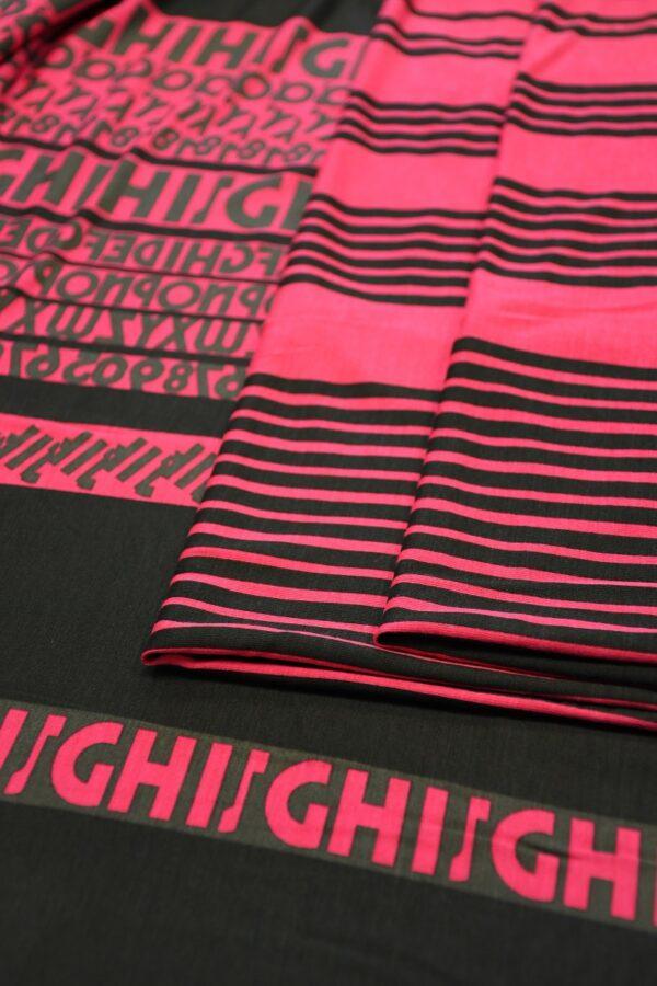 Трикотаж черный с розовой полоской и буквами 3
