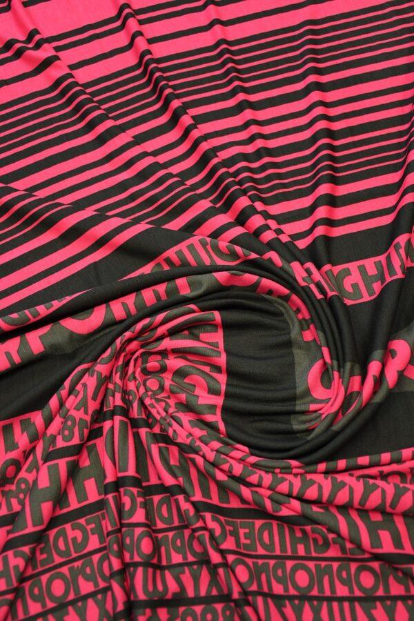 Трикотаж черный с розовой полоской и буквами 2