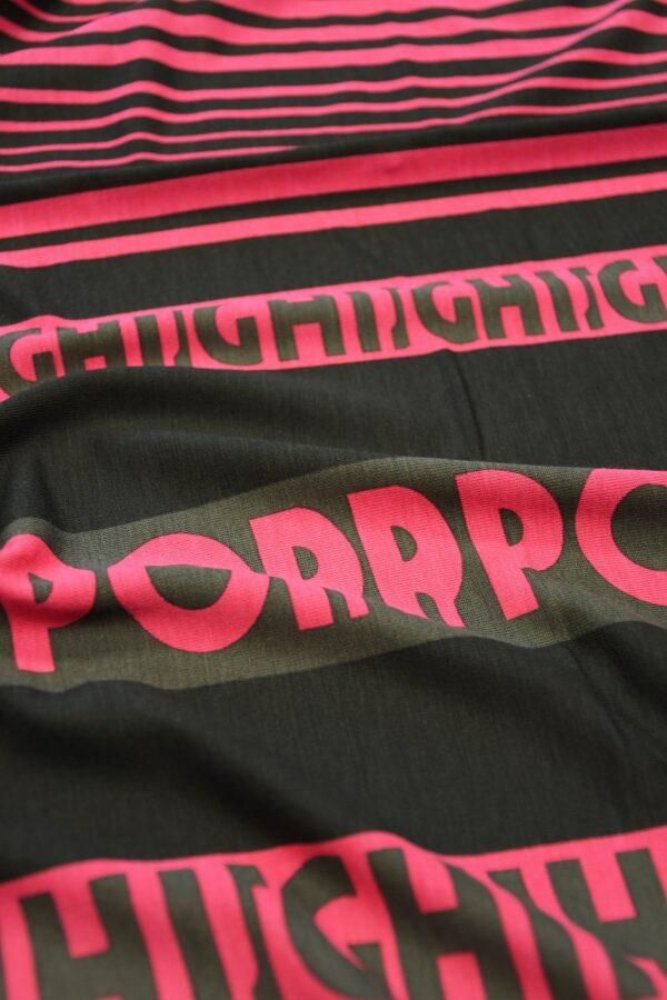Трикотаж черный с розовой полоской и буквами 5