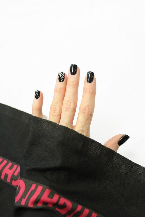 Трикотаж черный с розовой полоской и буквами 1