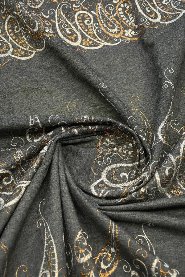 Джинс серый с вышивкой люрексом 3