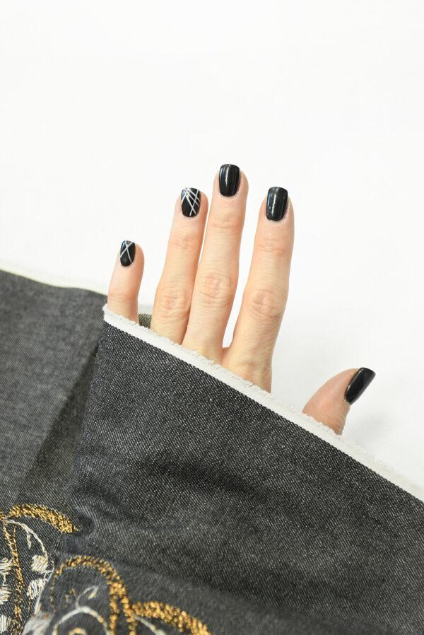Джинс серый с вышивкой люрексом 5