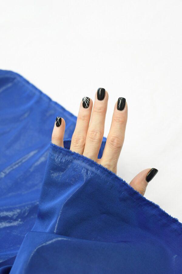 Плательная ткань синяя с эффектом воды 5