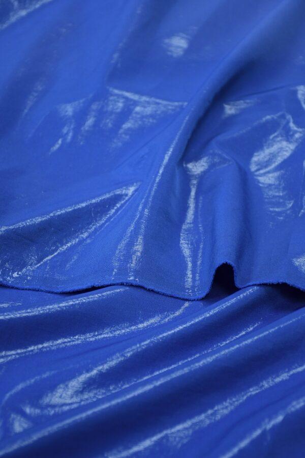 Плательная ткань синяя с эффектом воды 3