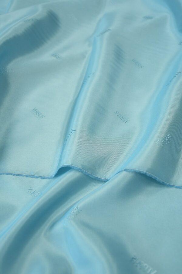 Подклад вискоза голубой с надписями 1