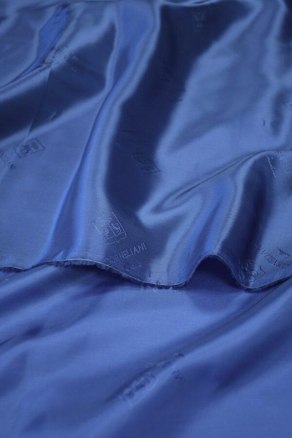Подклад вискоза синий с гербами и надписями 2