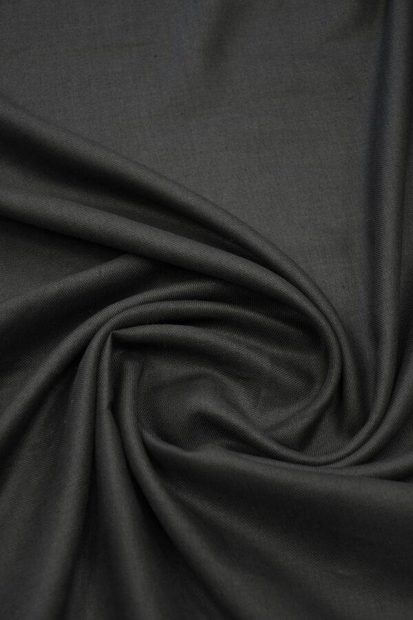 Лен черный в диагональный рубчик 2