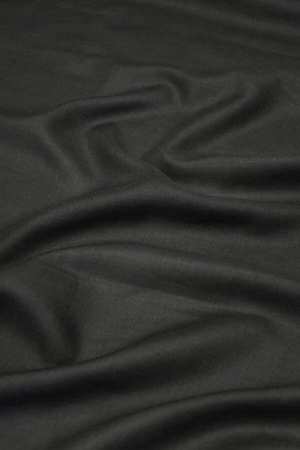 Лен черный в диагональный рубчик