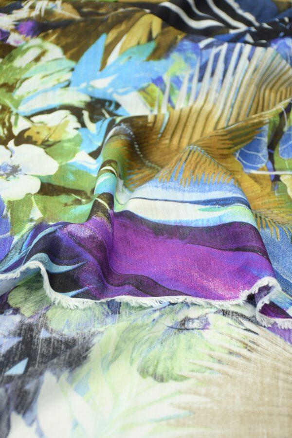 Лен с пальмовыми листьями и цветами 4