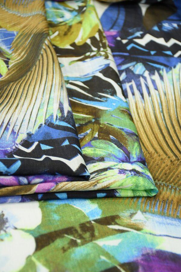 Лен с пальмовыми листьями и цветами 3