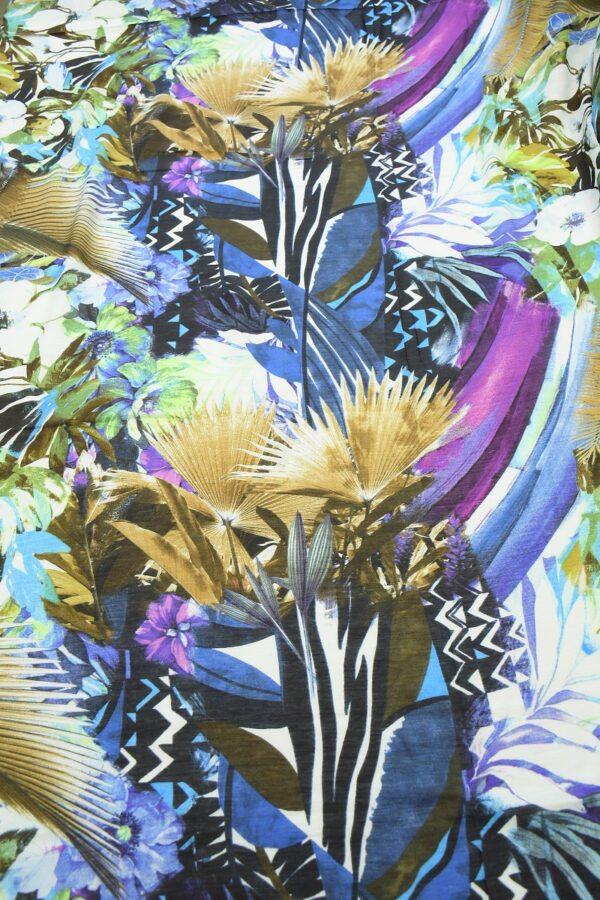 Лен с пальмовыми листьями и цветами 5