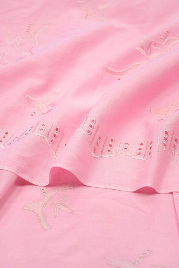 Лен розовый с вышивкой 3