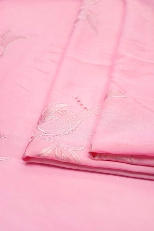 Лен розовый с вышивкой 4