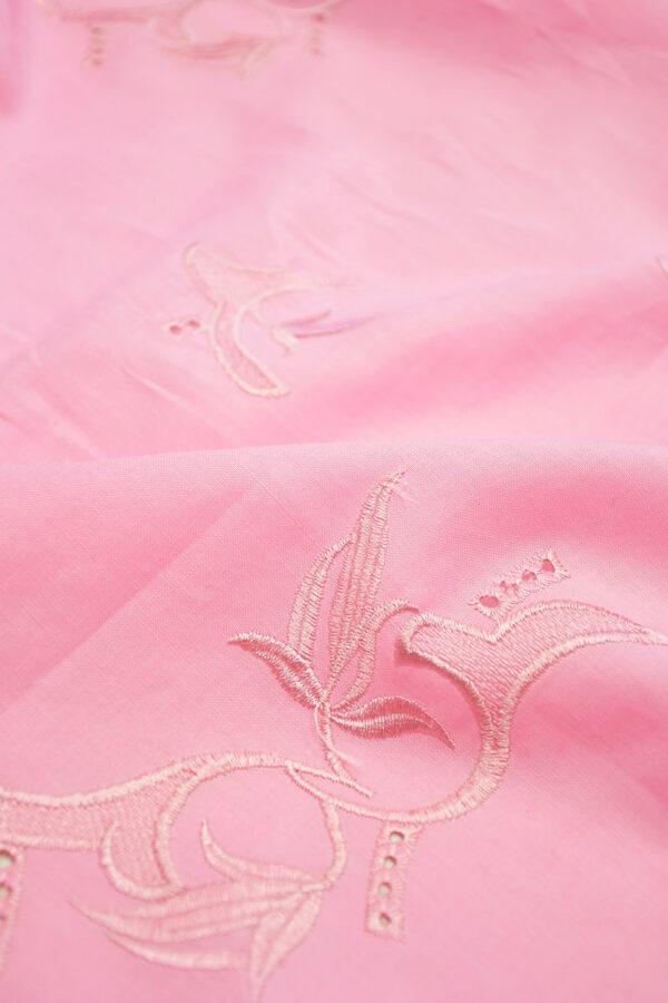 Лен розовый с вышивкой 5