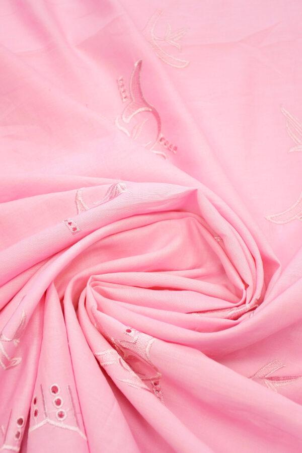 Лен розовый с вышивкой 2