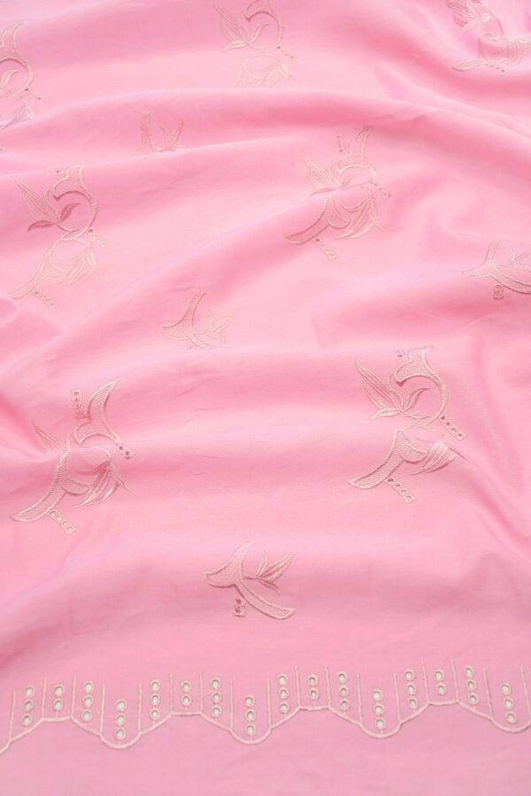 Лен розовый с вышивкой