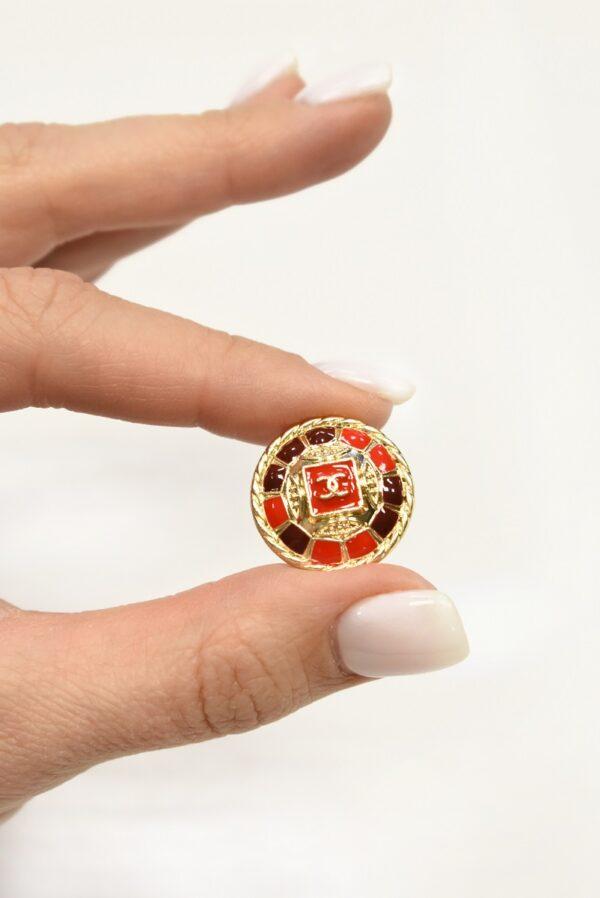 Пуговица металл золото красная эмаль 20мм  (p1076) к22 - Фото 9