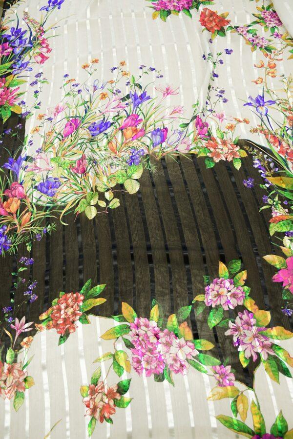 Шифон деворе с яркими цветами и полоской 6