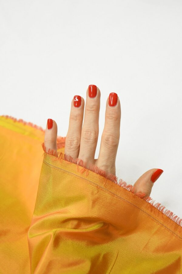 Тафта шелк хамелеон оранжевая с желтым 1