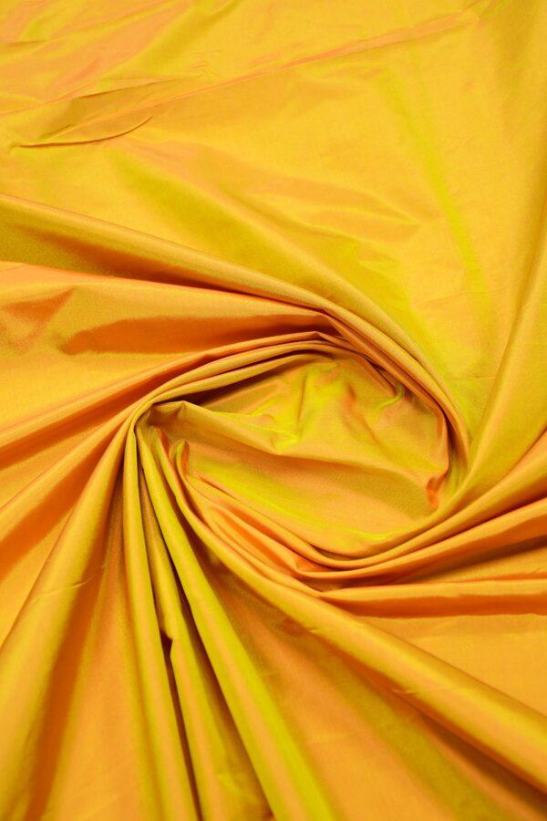 Тафта шелк хамелеон оранжевая с желтым 3